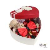 ست کادویی پاپیون قرمز مات و مشکی به همراه جعبه قلبی