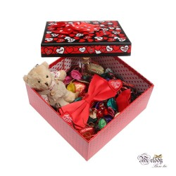 ست کادویی پاپیون قرمز مات به همراه جعبه مربعی