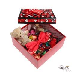 ست کادویی پاپیون قرمز براق لبه فلزی به همراه جعبه مربعی