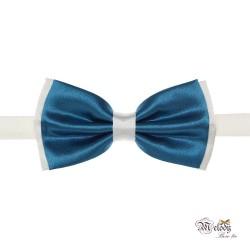 پاپیون سری مندو - مردانه (آبی درباری براق و سفید)